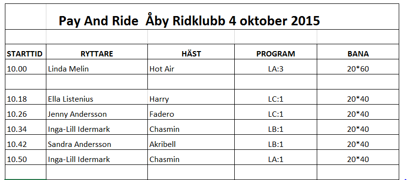Starttider Pay and ride